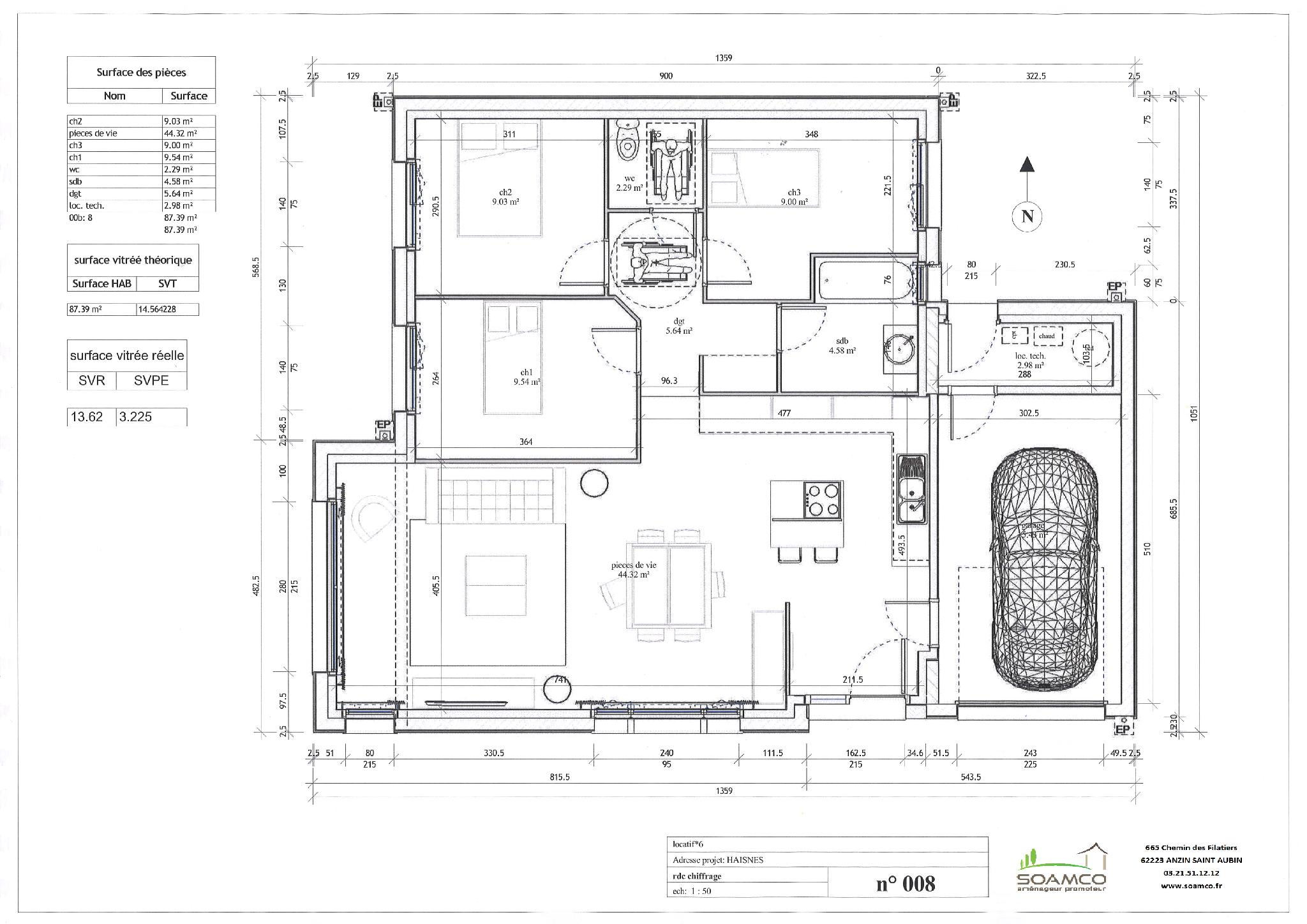 Plan maison t4 gallery of t brhat with plan maison t4 for Plan maison t4